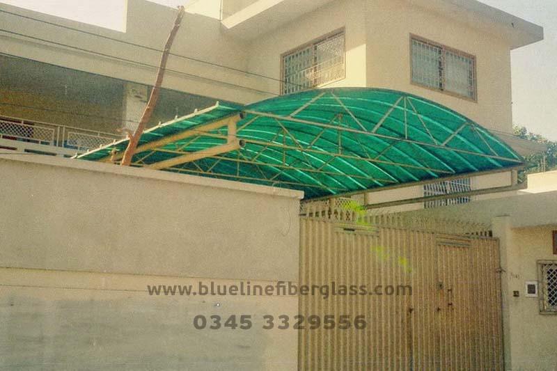 Car Parking Shades Design Blue Line Fiberglass Karachi Pakistan