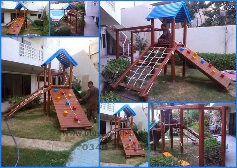 Blue Line Fiberglass Playground Equipments Swing Slides