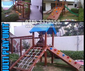KIDS MULTI PLAY UNIT Wood Garden Swing and Slide Set