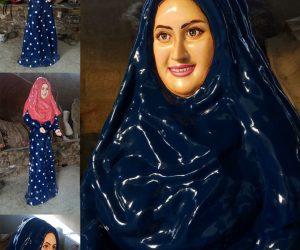 arabic lady in abaya statue sculptures monuments karachi pakistan