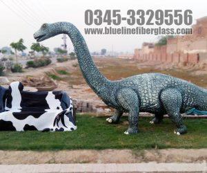 cow bench and Dinosaur fiberglass statue sculptures monuments karachi pakistan