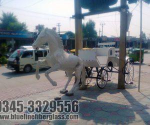 horse and cart statute fiberglass sculptures monuments karachi pakistan