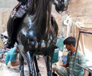 man riding horse statute fiberglass sculptures monuments karachi pakistan