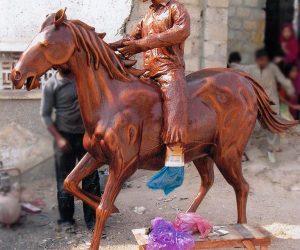 man on horse fiberglass statue sculptures monuments karachi pakistan