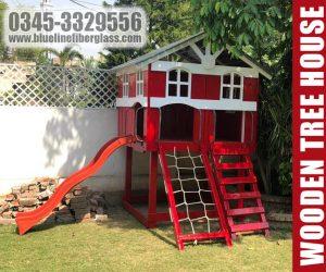 kids playground equipmet - wooden tree house - Blue Line Fiberglass