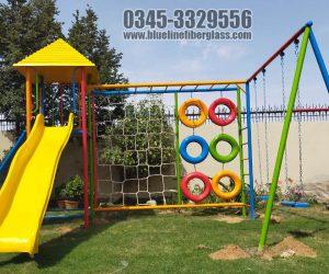 kids multiplay unit 2 - Swing - Slide -  monkey bar - rope climber - rock climber - Blue Line Fiberglass