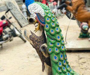 Peacock Sculpture - Blue Line Fiberglass animals statues sculptures monuments karachi Lahore Pakistan