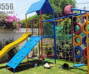 kids multiplay unit 1 - Swing - Slide -  monkey bar - rope climber - rock climber - Blue Line Fiberglass