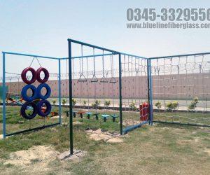 kids multiplay unit - Swing - Slide -  monkey bar - rope climber - rock climber - Blue Line Fiberglass