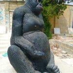 Gorilla Sculpture Statue Blue Line Fiberglass Karachi Pakistan