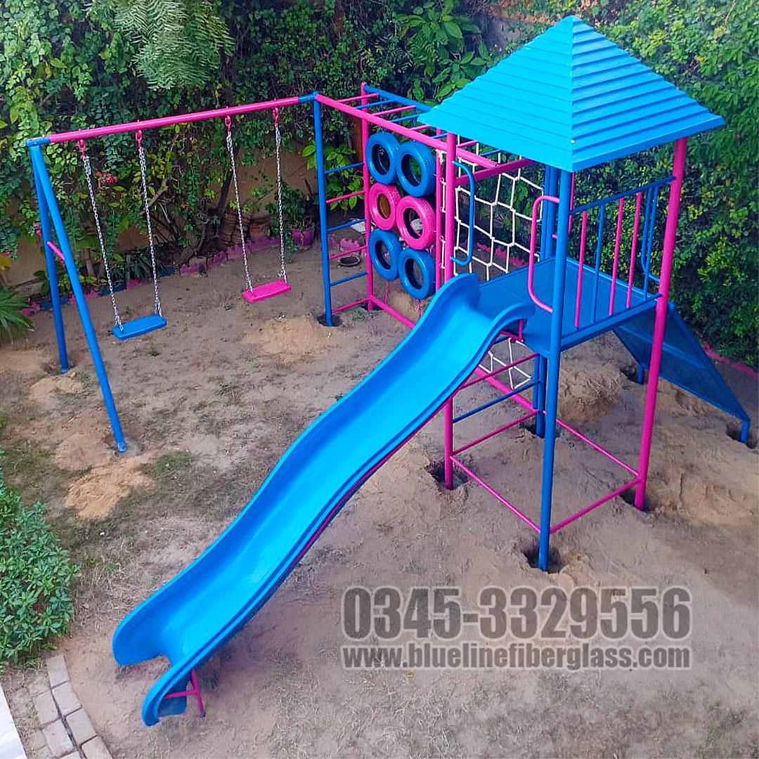 Kids Outdoor Play Gym to a Happy Customer   Blue Line Fiberglass Karachi Pakistan
