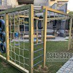 Kids Outdoor Wooden Play Gym Blue Line Fiberglass Karachi Pakistan