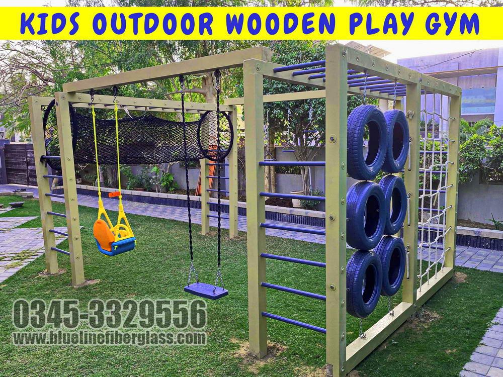 Kids Outdoor Wooden Play Gym | Blue Line Fiberglass Karachi Pakistan