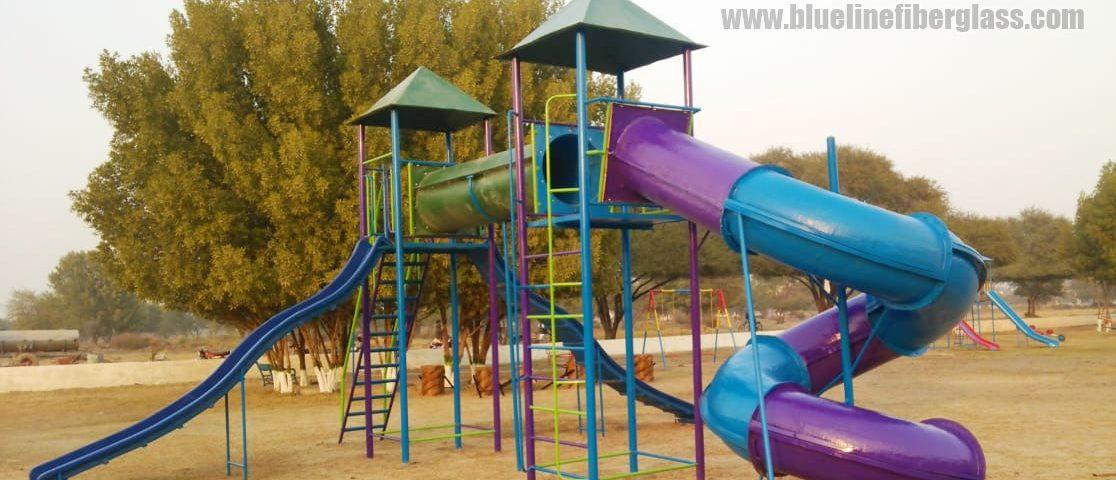 Garden Play Equipment and Garden Bench Delivery and Installation to Happy Customer Blue Line Fiberglass Karachi Pakistan 2