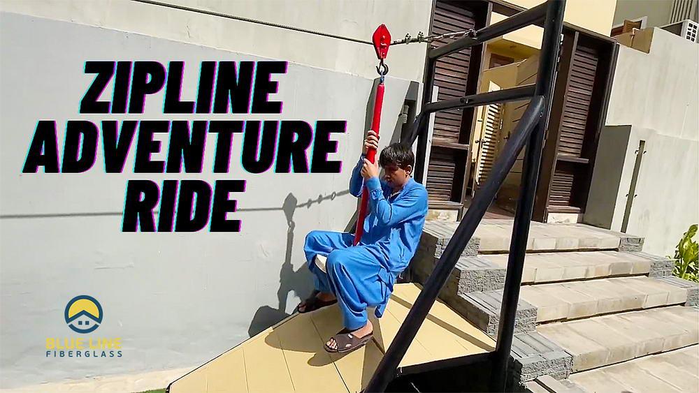 Zipline Adventure Ride for Kids   Blue Line Fiberglass