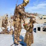 Pakistan Military Soldier Sculpture Statue Blue Line Fiberglass Karachi Pakistan 3